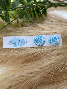 Sky Blue & White Squiggle Fabric Button 19mm