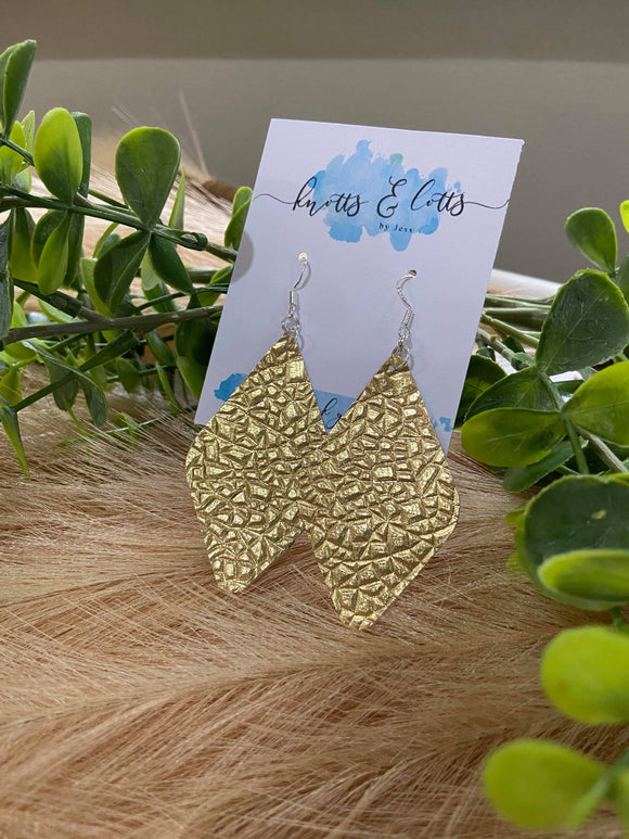 Gold Foil Vinyl Diamond Earrings