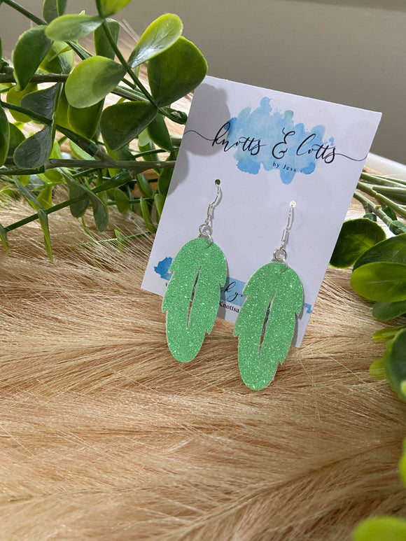 Lime Green Glitter Mini Leaf Dangles