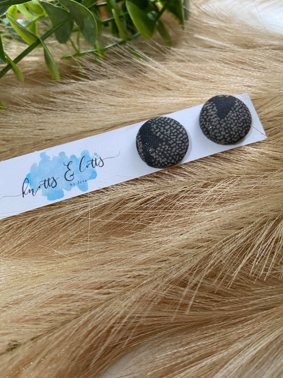 Black w/ Grey Speckles Fabric Buttons 19mm