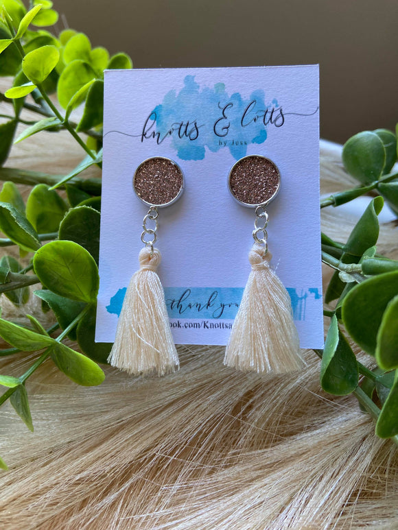 Cream Tassel with Rose Gold Glitter Vinyl Resin Studs