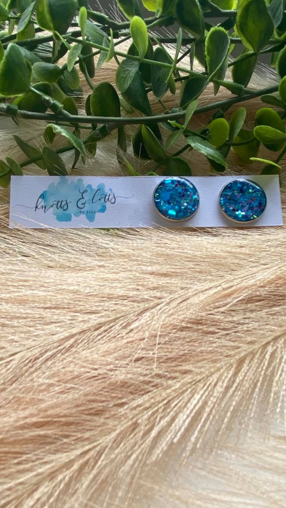 Turquoise Glitter Resin 12mm Studs