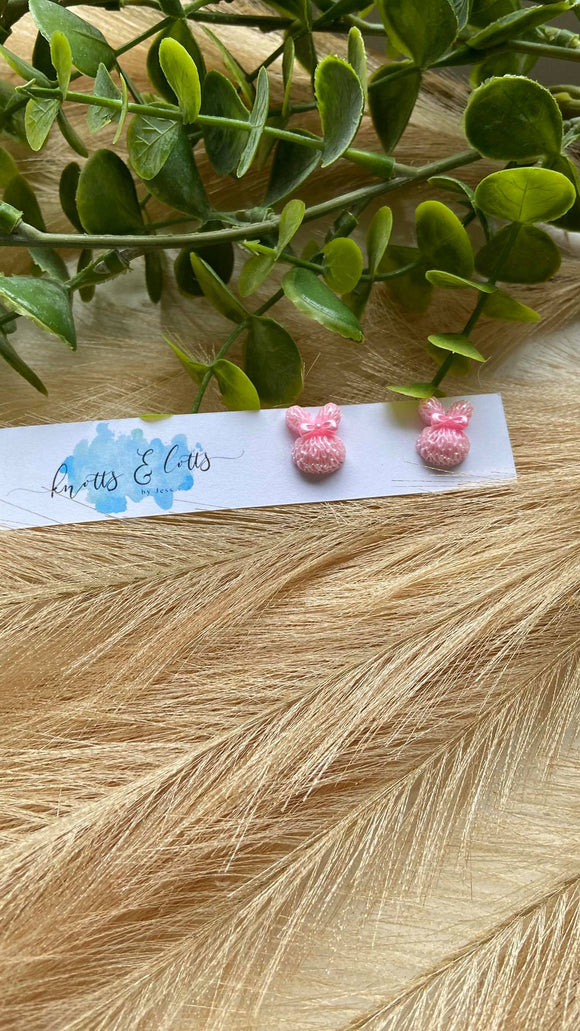 Pink Bunny Studs