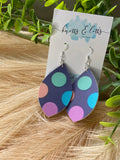Navy Bright Polka Dot Dangles