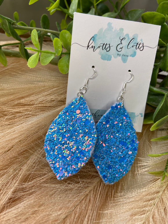Pretty Blue Chunky Glitter Dangles
