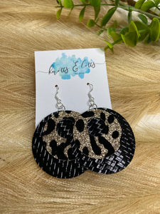 Silver Hook Shiny Black & Gold Glitter Leopard
