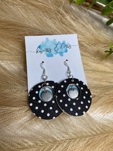 Silver Hook Black with white Polka dots