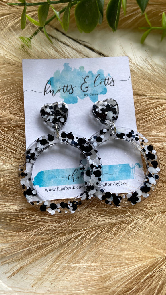 Black & White Explosion Hoop Dangles