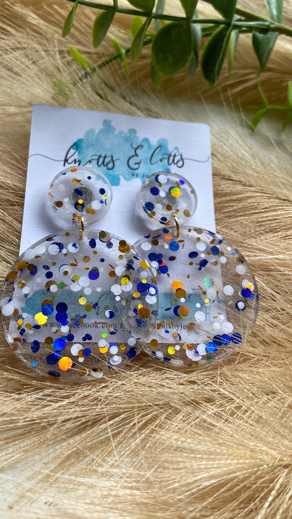 Blue & Gold Explosion Round Dangles