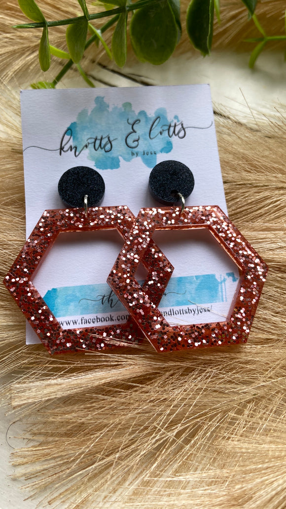Black and Rose Gold Hexa Dangles