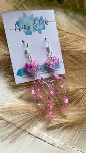 Pink, Purple Explosion Drop Dangles