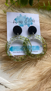Black & Green Sprinkle Hoop Dangles