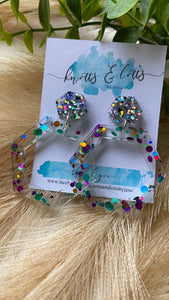 Purple, Blue & Gold Explosion Hoop Dangles