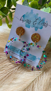 Pink, Blue & Gold Hoop Dangles