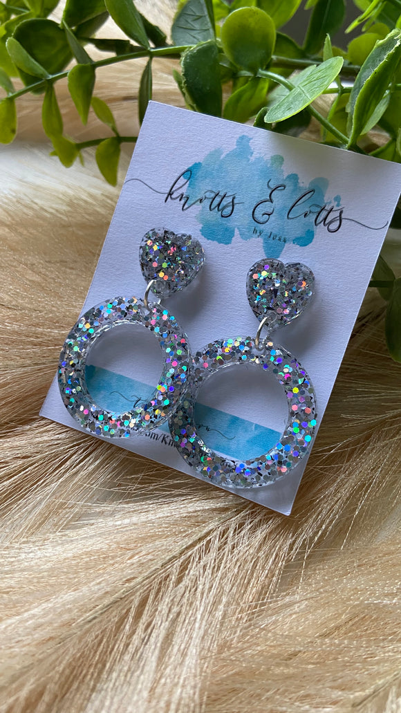 Multi Glitter Bling Hoop Dangles