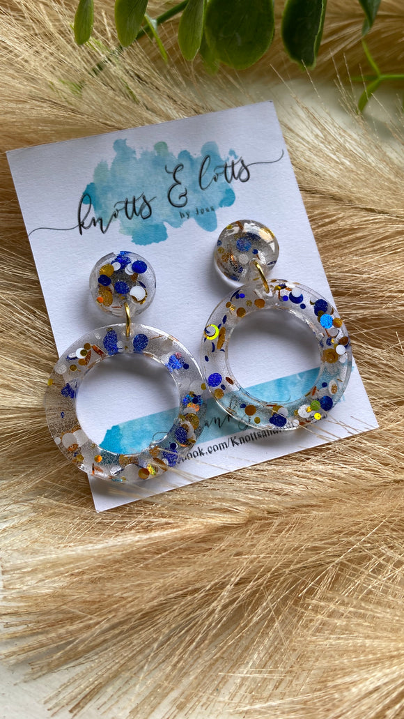 Blue & Gold Explosion Hoop Dangles
