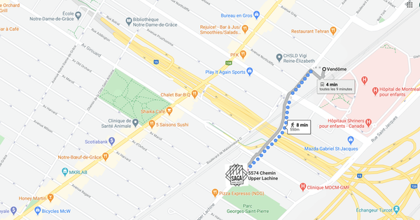 Librairie Saga Bookstore map parcours from Vendome metro by foot