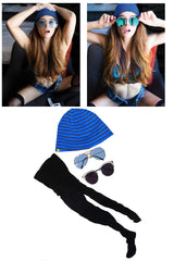 Abbie Maley Black Stockings, Ski Cap and Sunglasses worn in her shoot with Striplv Magazine