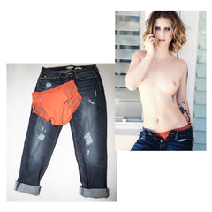 Caprice panties and jeans worn in STRIPLV Magazine