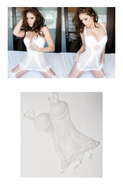 Carlotta Champagne White Corset with Garter Belts as seen in her shoot with Striplv Magazine