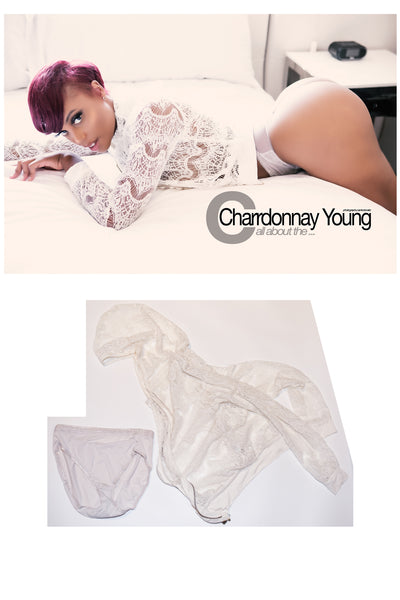 Charrdonnay Young lace hoodie and white panties worn in her shoot with STRIPLV Magazine