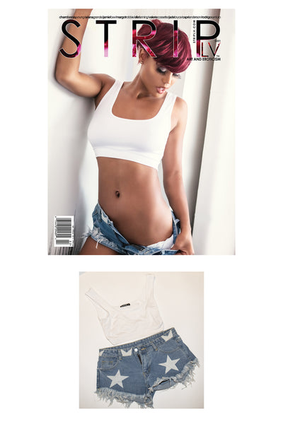 Charrdonnay Young jean shorts and white top worn in her shoot with STRIPLV Magazine