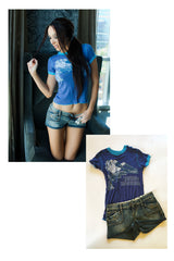 "Lane Elizabeth Jean Shorts & ""Velvet Revolver"" T-Shirt as seen in her shoot with STRIPLV Magazine"