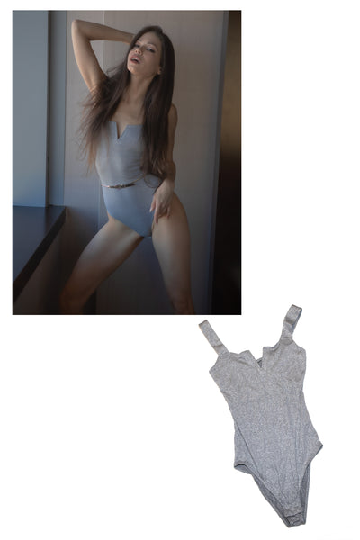 Mika Lovely silver one-piece lingerie worn in her shoot with STRIPLV Magazine