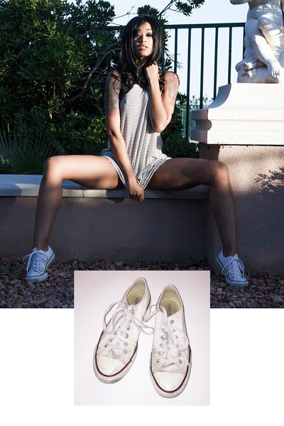 Raylin Joy Converse Sneakers from her shoot with Striplv Magazine
