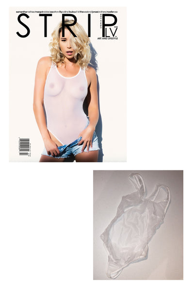 Samantha Mathias White Sheer One Piece worn in her shoot with Striplv Magazine