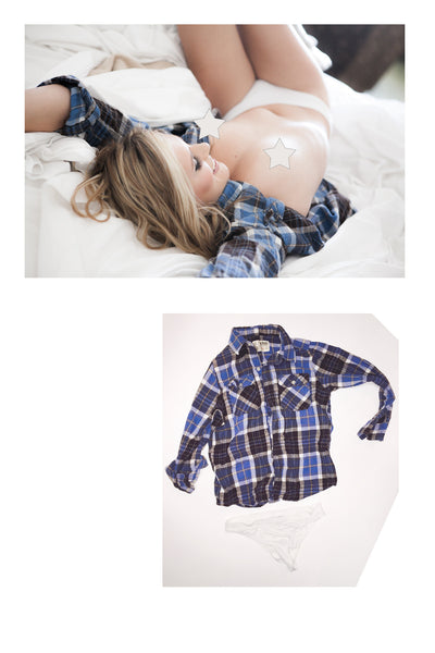 Sasha Heart Flannel Shirt and Panties as seen in her shoot with Striplv Magazine