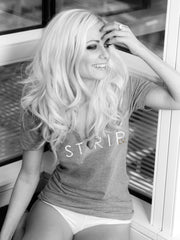 STRIPLV Logo V-Neck T-Shirt (women's - GRAY)