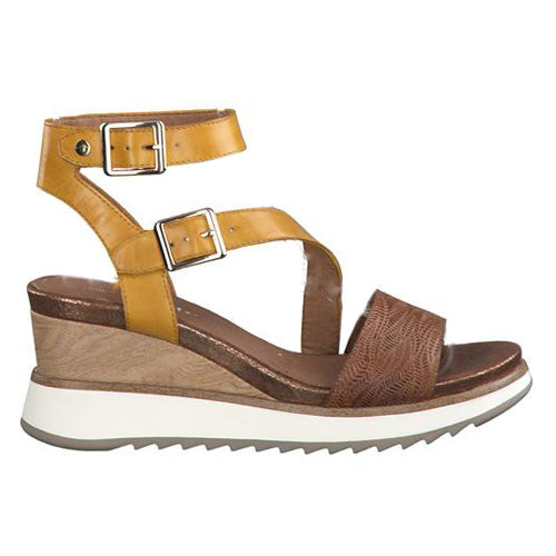 Tamaris Wedge Sandal - 28021-24 - Tan/Yellow