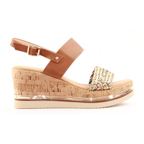 Zanni Ladies Wedge Sandal - Kahat - Tan