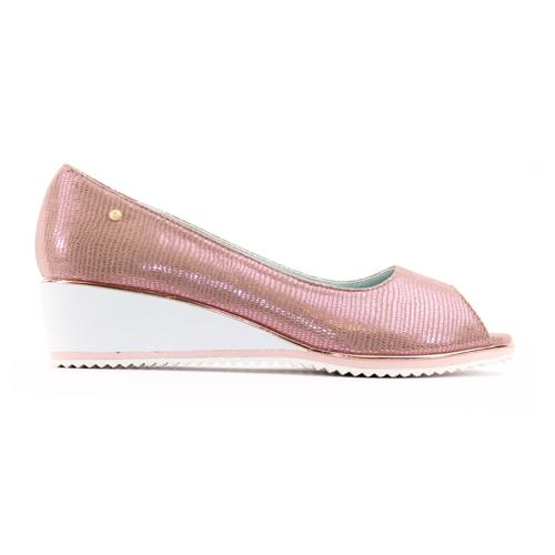 Zanni Low Wedge Peep Toe Pumps - White Fish - Pink