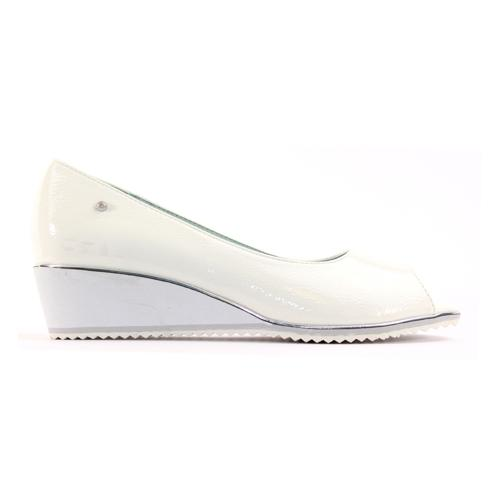 Zanni Wedge Peep Toe Pumps  - Whitefish - White