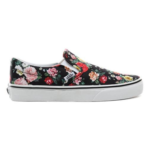 Vans Classic Skate Shoes - Slip On - Black Floral