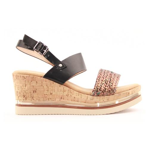 Zanni Ladies Wedge Sandal - Kahat - Black