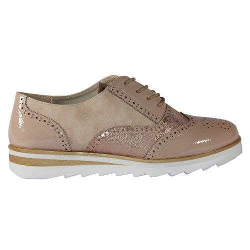 Redz Ladies Flat Brogues - 10K01 - Beige