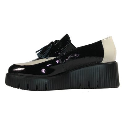 Wonders Wedge Loafers - E-6221 - Black/ White