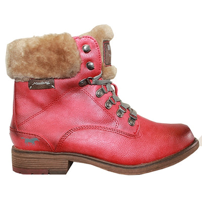 Mustang  Fur Lined Ankle Boots- 1295601 - Red