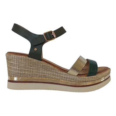 Zanni Wedge Sandal -  Adlan- Green