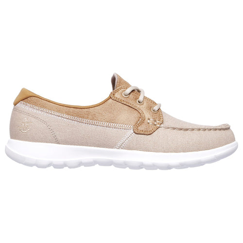 Skechers Ladies Boat Shoes - GoWalk Lite 15430 - Natural Beige