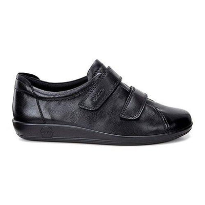 Ecco Ladies Velcro Walking Shoes - 206513 - Black