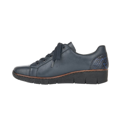 Rieker Wedge Shoes - 53702  - Navy