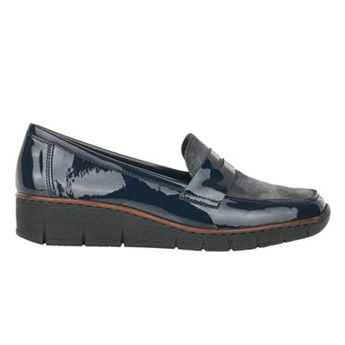 Rieker Wedge Shoes - 53732- Navy