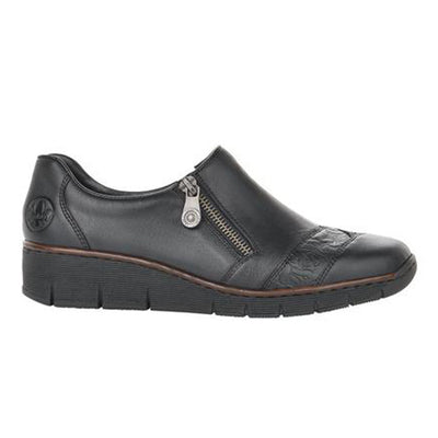 Rieker Wedge Shoes - 53761 - Black