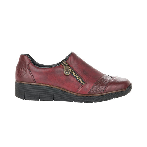 Rieker Wedge Shoes - 53761 - Wine