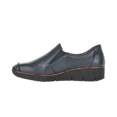 Rieker Wedge Shoes - 53781 - Navy