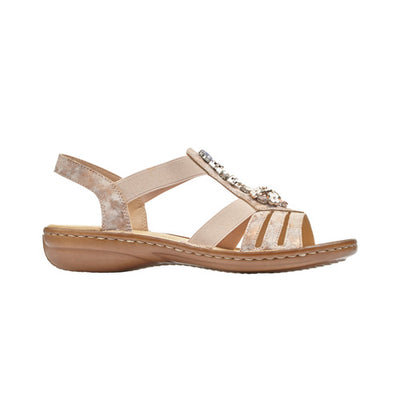 Rieker Ladies Sandal - 60855-31 - Rose